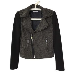 TAHARI Black & Grey Herringbone Moto Jacket 4